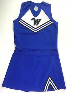 """Adult XXL Cheerleader Uniform 44"""" Top 40 Skirt Royal Blue Outfit Large W Sexy"""