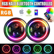 "RGB Color Changing Halo 7"" LED Angry Eye Headlights For Jeep Wrangler JK 2007-17"