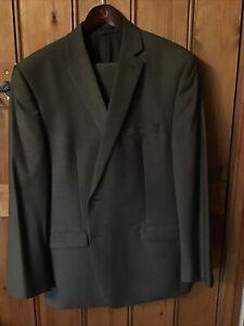 Calvin Klein Mens Suit 100% Wool Size 44R W38 29.5 Inside Leg