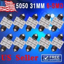 10 X Ultra Blue 31MM 6SMD Festoon Dome Interior LED Light bulbs DE3175 3021 6428