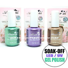 3 SOAK OFF LED UV GEL NAIL POLISH TEAL GREEN PURPLE GOLD GLITTER LACQUER AUSET03