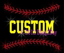 Rhinestone Iron on Transfer Bling Hot Fix Softball Stitching Customize Name