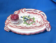 """French Faience Pin Cushion and Tray """"Imperial"""" France"""