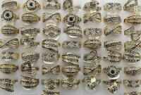 New Job Lots 28pcs Rhinestone Gold P Women Clear&Black Charm Party Gift Rings