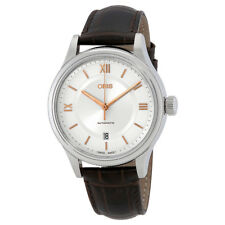 ORIS Classic Silber Zifferblatt Automatik Herren Braun Leder Armbanduhr 01 733 7719 4071 -07