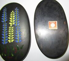 ANDO REPOUSSE CLOISONNE COPPER FLORAL ENAMEL BOX WITH ANDO LABEL
