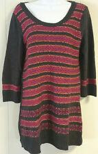 The Limited Medium Womens Sweater Tunic Striped Gray Pink Orange soft 3/4 sleeve