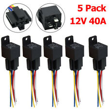 5PCS 12V 30/40 Amp 5 Pin Car SPDT Automotive Relay with Wires + Harness Socket