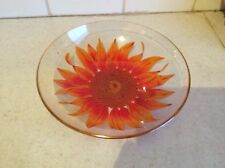 VINTAGE ORANGE SUNFLOWER HAND PAINTED GLASS BOWL WITH GOLD RIM