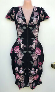 CITY CHIC Front Zip Structured Tunic Floral Dress Tuck Detail/Pockets sz XS/14