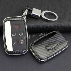 For Land Rover Jaguar Carbon Fiber Car Key Shell Chain Fob Cover Case Holder