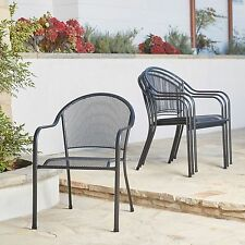 New Set of 4 Outdoor Chairs Metal Bistro Chairs Black Stackable Mesh Seating