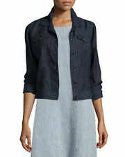 Eileen Fisher Jacket Cropped Blue Organic Linen Button Front SZ XS