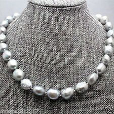 """Cultured freshwater 9-10mm grey Baroque Pearl Necklace 18"""""""