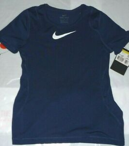 New Nike PRO Girls  NAVY  T Shirt Age 8-10 NIKE  DRI-FIT --TIGHT -FIT