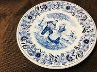 Authentic Vintage Dutch Royal Sphinx Delft Maastricht Peasant Plate White Blue