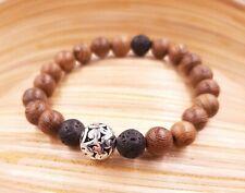 Bracelet en bois tibétain méditation mala homme femme pierre de lave