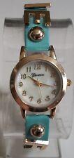 Designer inspired LOVE/FAITH gold finish/leather band  fashion women's watch