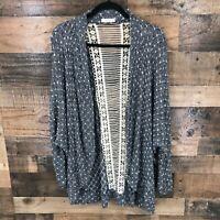 Entro Women's Black & White Floral Lace Open Front Dolman Sleeve Cardigan Size L