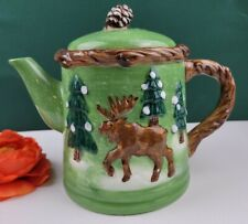 Retro Bico China Teapot - Woodlands Bears & Moose in the Forest . Green & Brown