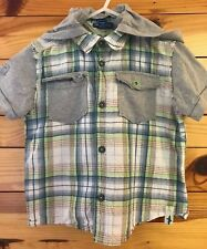 Naartjie Boys Layered Look Plaid Hooded Shark Shirt w/Removable Hood Size 4
