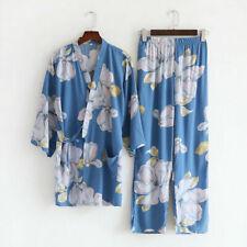 New Chinese Japanese Large Flowers In Blue Long Ladies Kimono Pyjamas ladpj307