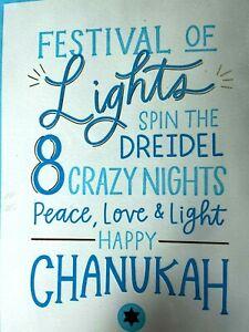 Papyrus Paper Destiny Card for Chanukah Hanukah Embossed Peace Love & Light