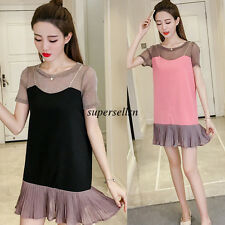 Korean Women Chiffon Summer Pleated Slim Loose Party Tunic A Line Short Dress S