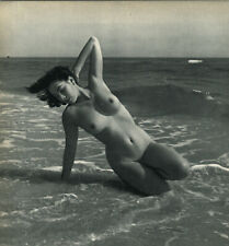 1940s 1950 Andre de Dienes Female Nude Sand & Surf Yoga Art Photogravure 16x20
