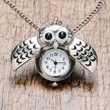 Owl Arabic Numerals Dial Modern Fashion Pocket Watch Necklace Gift Silver Night