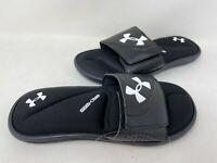NEW! Under Armour Men's Ignite VI Comfort Slides Black/White #3022711 198P tz