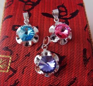 Solid 925 Silver Flower Pendant Pink,Blue or Purple made with Swarovski Crystal