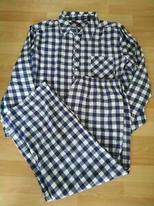 manguun Damen Pyjama 2 teilig Hemd Hose Langarm Kariert Größe 48/50 Schlafanzug