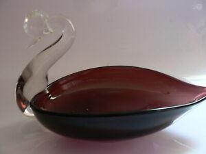 Amethyst Glass Leaf Dish With Clear Swan Torso, Free Post!