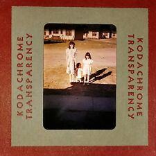 Kodachrome Red Border 1950's Three Girls in Dresses Posing Outside vintage Slide