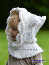 Knitting Pattern - Snowy Bear Hood (All sizes)