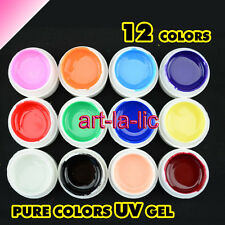 12 Mix Color Solid Pure Glitter Gel Acrylic Set UV Builder Nail Art Decor Kit