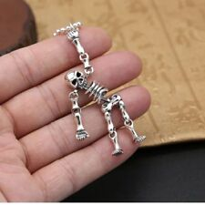 Polished 925 Sterling Silver Movable Full Skull Skeleton Gothic Biker Pendant