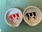 2 Vintage Taylor & Ng San Francisco Cute Red & Black Cow Ceramic Spoon Rest