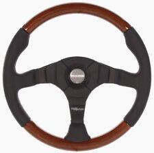 Genuine Momo Dark Fighter Wood 350mm mahogany wood, black leather steering wheel