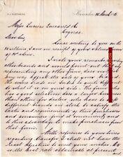 Document du 26/03/1885 RUSTOMJEE Karrachee (Karachi) PAKISTAN 2 pages