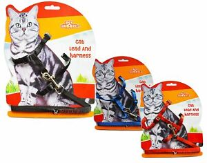 New Cat Harness Lead 3 Colours Kitten Walk Run Exercise Play Gift