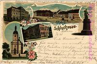 AK Šluknov (Schluckenau) Tschechien,Litho,Marktplatz, K.K.Fachschule,1901, 01/07