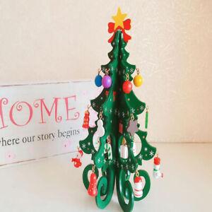 Christmas Tree Children's Handmade DIY Stereo Wooden Christmas Tree Scene Layou^