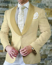 Champagne Floral Print Jacquard Paisley Groom Tuxedos Slim Fit Men Suit Custom