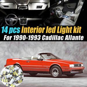 14Pc Super White Car Interior LED Light Bulb Kit for 1990-1993 Cadillac Allante