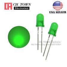 100pcs 5mm Diffused Green Green Round Top Led F5 Dip Light Emitting Diodes Usa