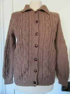 VINTAGE HAND KNITTED ARAN CARDIGAN WITH COLLAR MOCHA COLOUR LAND GIRL STYLE