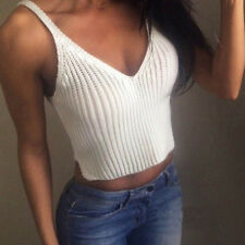 UK Women Ladies Knit Vest Sleeveless Crop Tops Slim Sling Tank Top Free Shipping