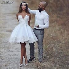 Charming Short White/Ivory Appliques Strapless Ball Gown Wedding Dresses Custom